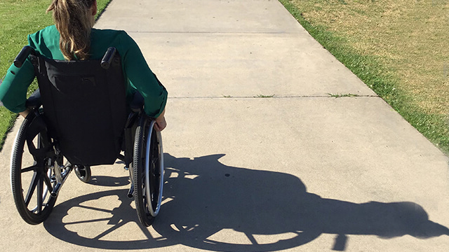 Woman in wheelchair on a pathway.