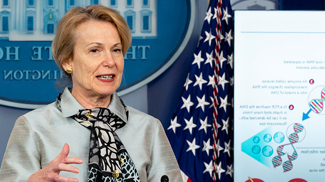 White House Coronavirus Task Force Response Coordinator Deborah Birx delivers remarks during a coronavirus (COVID-19) update briefing in April.