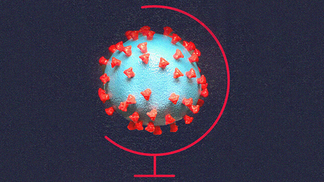 COVID 19 virus depicted in a globe.