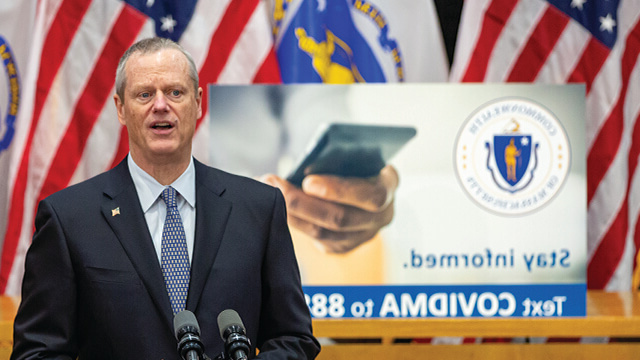 Massachusetts Governor Charlie Baker at a press conference discussing COVID-19.