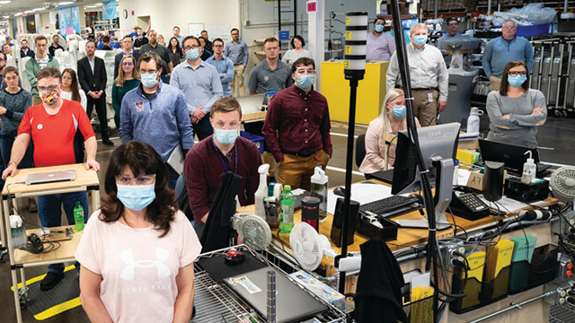 Workers at a healthcare research center in Wisconsin.