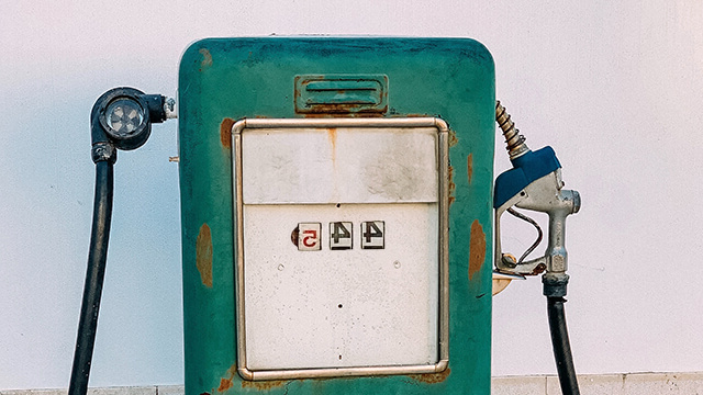 A weathered gas pump.