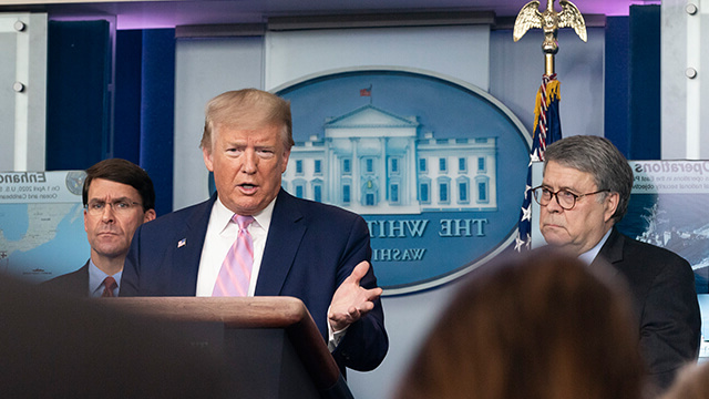 President Trump speaking at the White House about COVID-19.