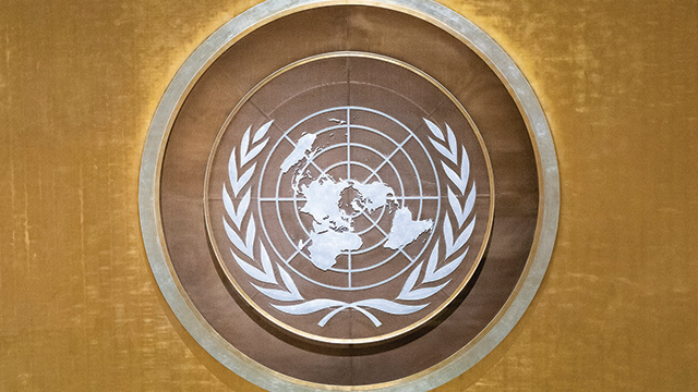 The seal of the United Nations.