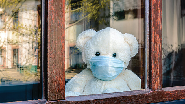 Residents placed teddy bears in their front windows for children to find during scavenger hunts.