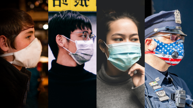 Four different profiles of people wearing medical masks.